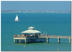 Fort Myers Beach Pier and Sailboat